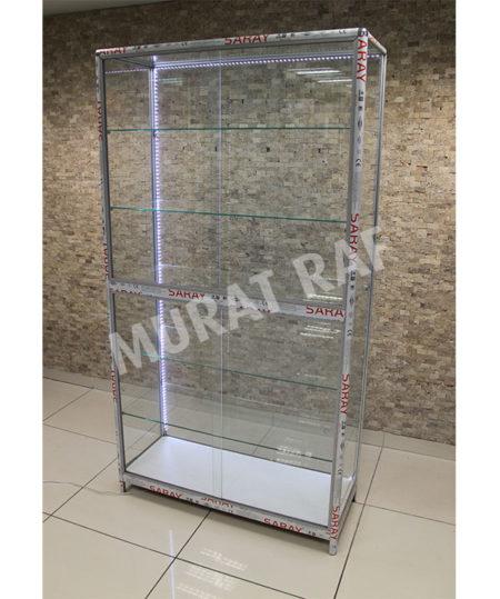 Sürgülü Ledli Camlı Vitrin 100 cm